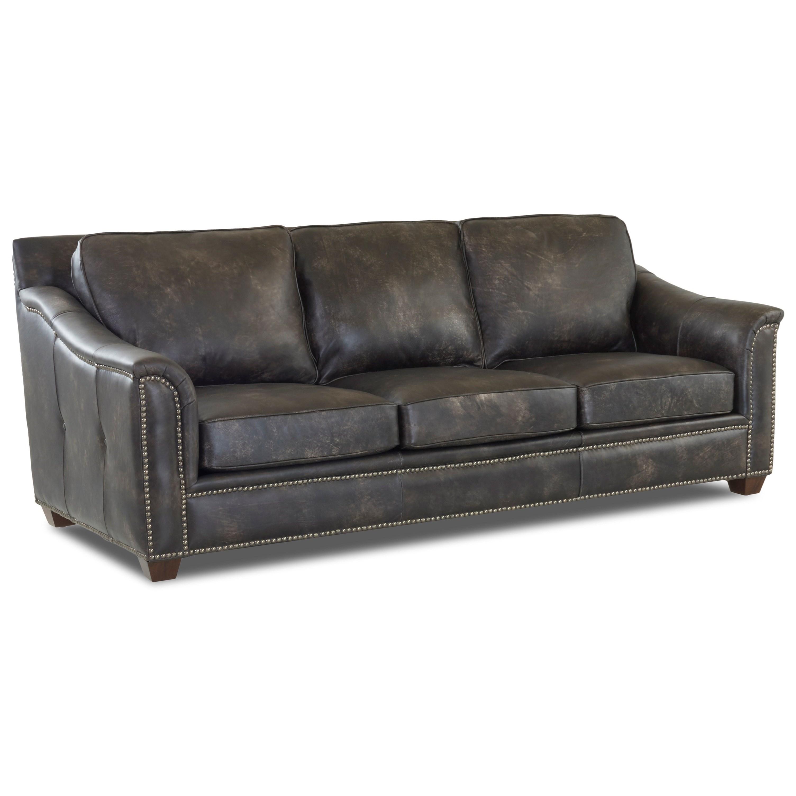 Klaussner Wilkesboro Ld43410 S Leather Sofa With Nailhead