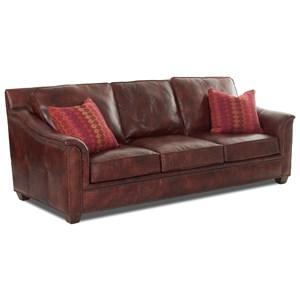 Klaussner Wilkesboro Leather Sofa w/ Pillows
