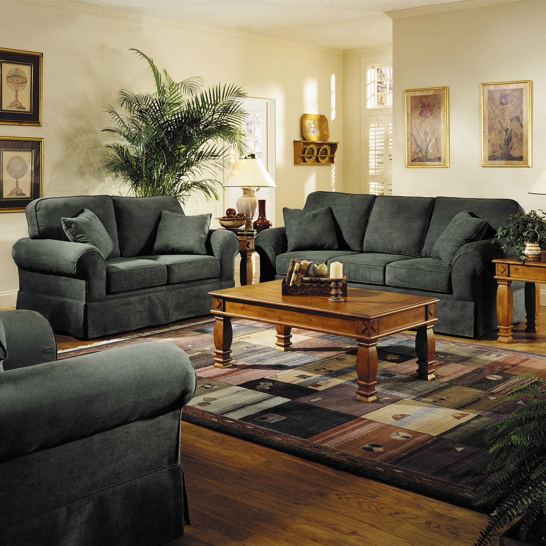 Klaussner woodwin upholstered loveseat johnny janosik for Klaus k living room brunssi