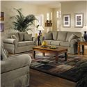 Belfort Basics Woodwin Upholstered Loveseat - Shown in Living Room with Matching Sofa