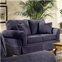 Elliston Place Woodwin Upholstered Loveseat - Angled View in Alternate Fabric