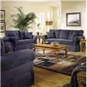 Elliston Place Woodwin Casual Skirted Sofa - Shown in Room Setting with Loveseat and Chair
