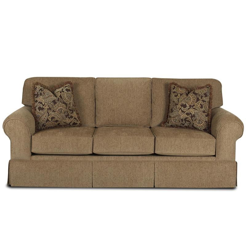 Klaussner Woodwin Sofa With Rolled Arms And Skirt Johnny Janosik Sofas