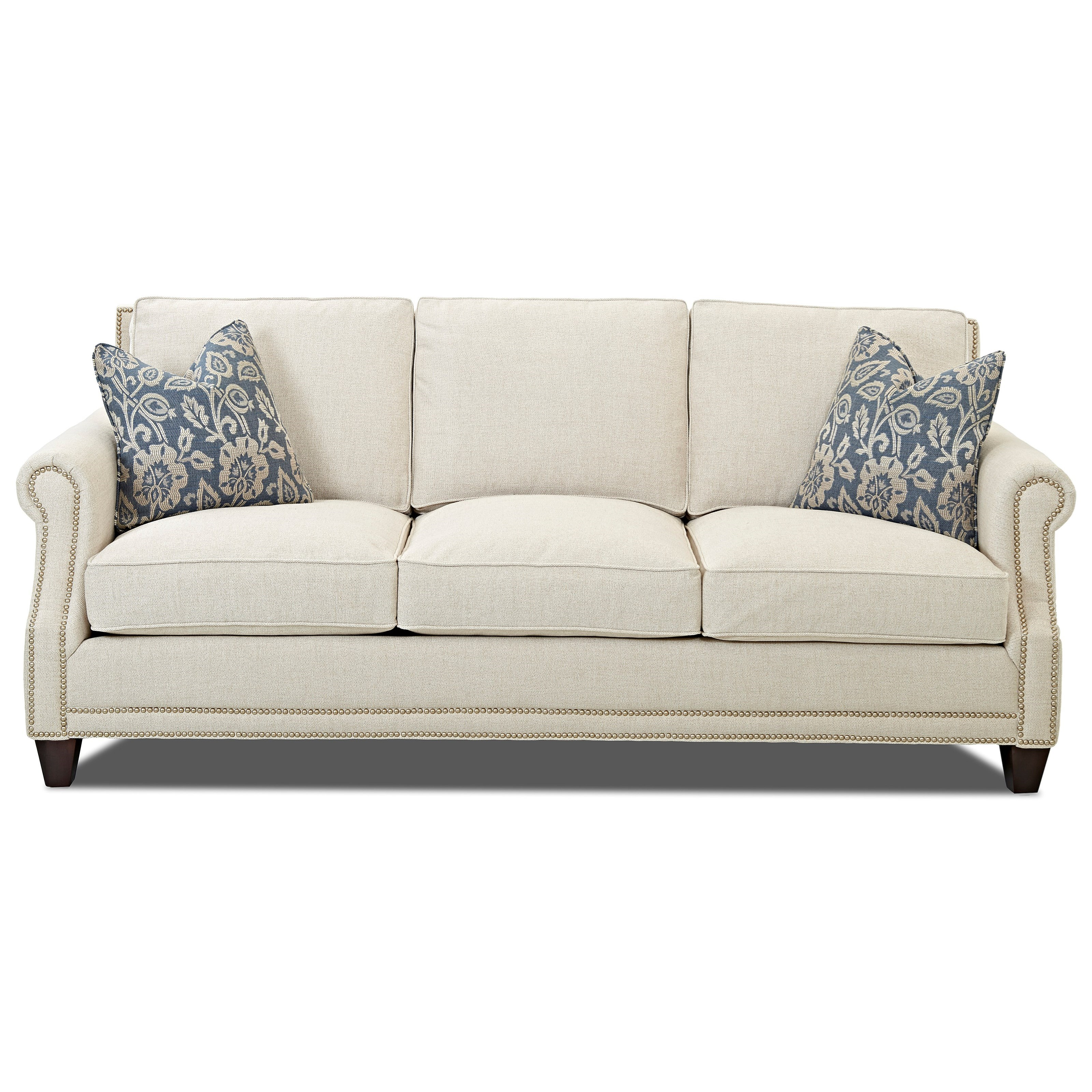 Klaussner York Classically Styled Sofa with Nail Trim and Arm