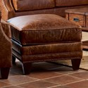 Klaussner York Ottoman w/ Nails - Item Number: LD58710 OTTO-Chaps Saddle