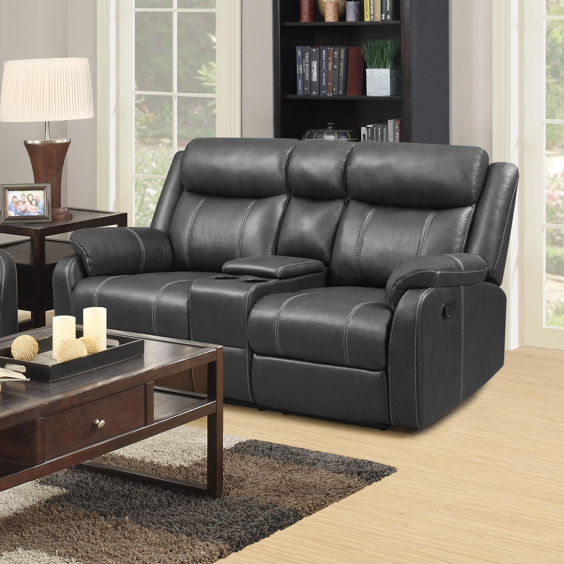 Klaussner International  Domino-US Console Reclining Loveseat - Item Number: DOMINO-US CRLS-ValorCarbon