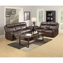 Klaussner International Domino Casual Reclining Sofa with Drop Down Table