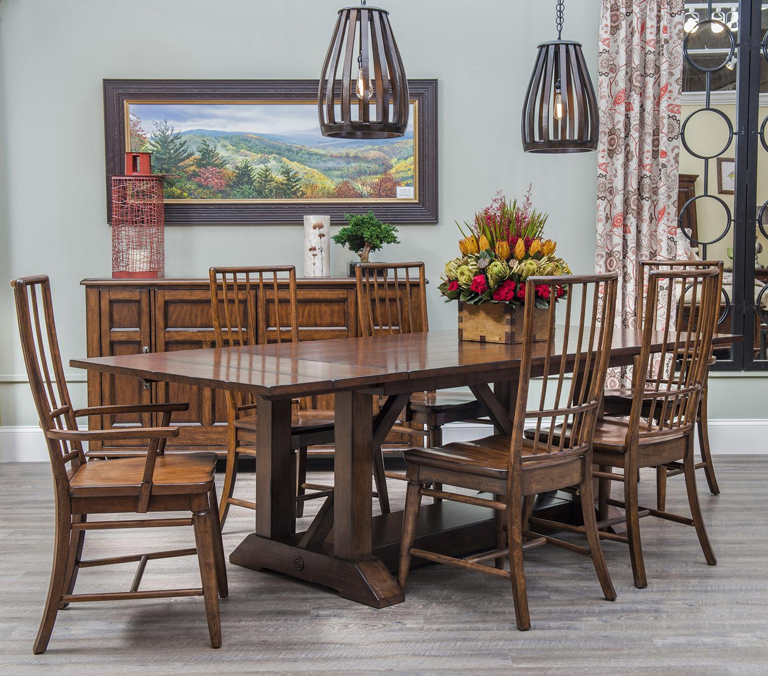 Easton Collection Blue Ridge 7 Piece Table and Chair Set - Item Number: 426-096 DRT+2x905 DRC+4x900 DRC