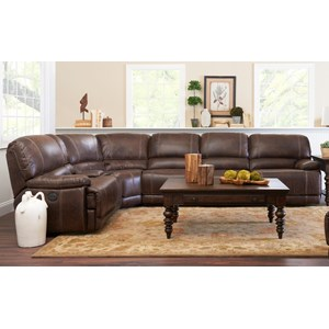 Klaussner International Foster 6 Pc Pwr Reclining Sectional Sofa