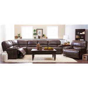Klaussner International Foster Six Piece Power Reclining Sectional with Rec