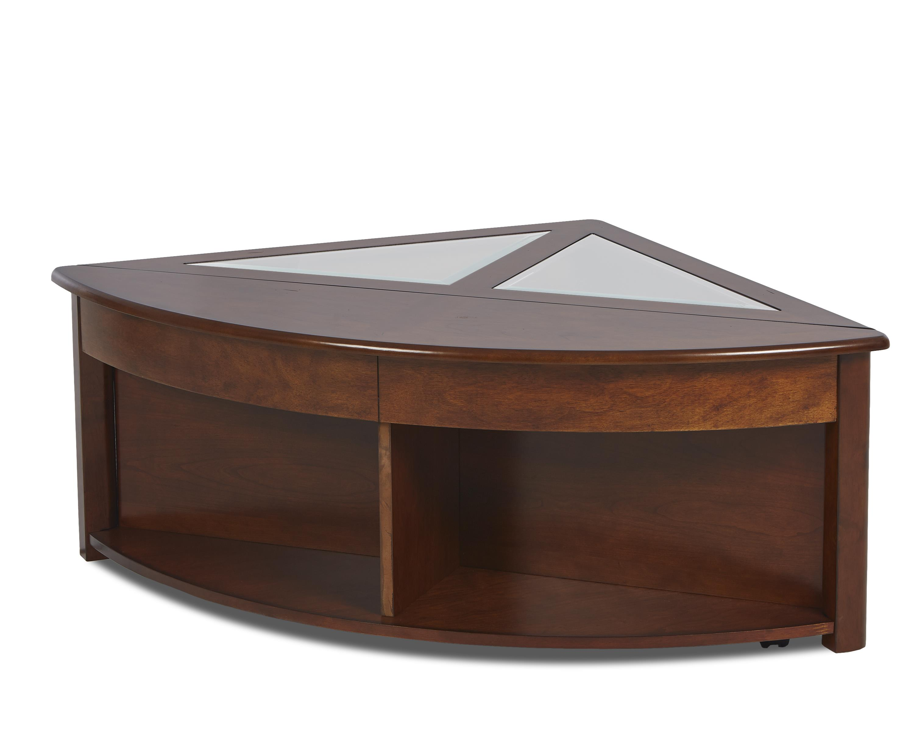 Klaussner International Madden Triangular Cocktail Table With Concealed Storage Wayside