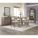 Klaussner International Melbourne Counter Height Table and Four Stools Set
