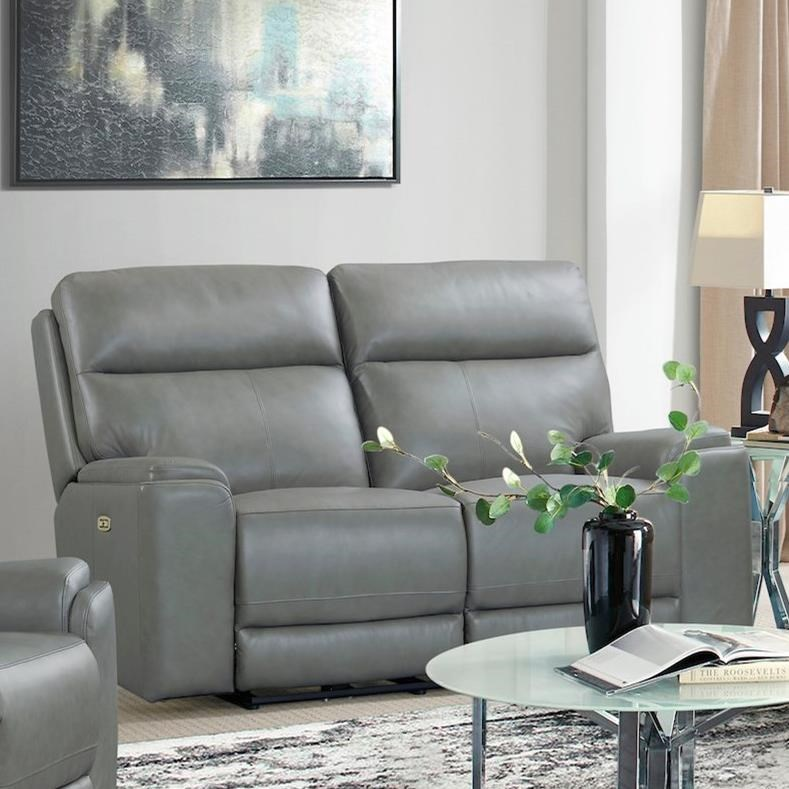 Santana Power Reclining Loveseat w/ Pwr Headrests by Klaussner International at HomeWorld Furniture