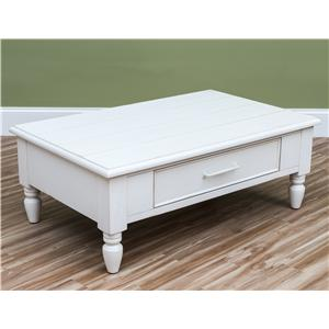 Carolina Preserves by Klaussner Sea Breeze Beachcomber-White Cocktail Table
