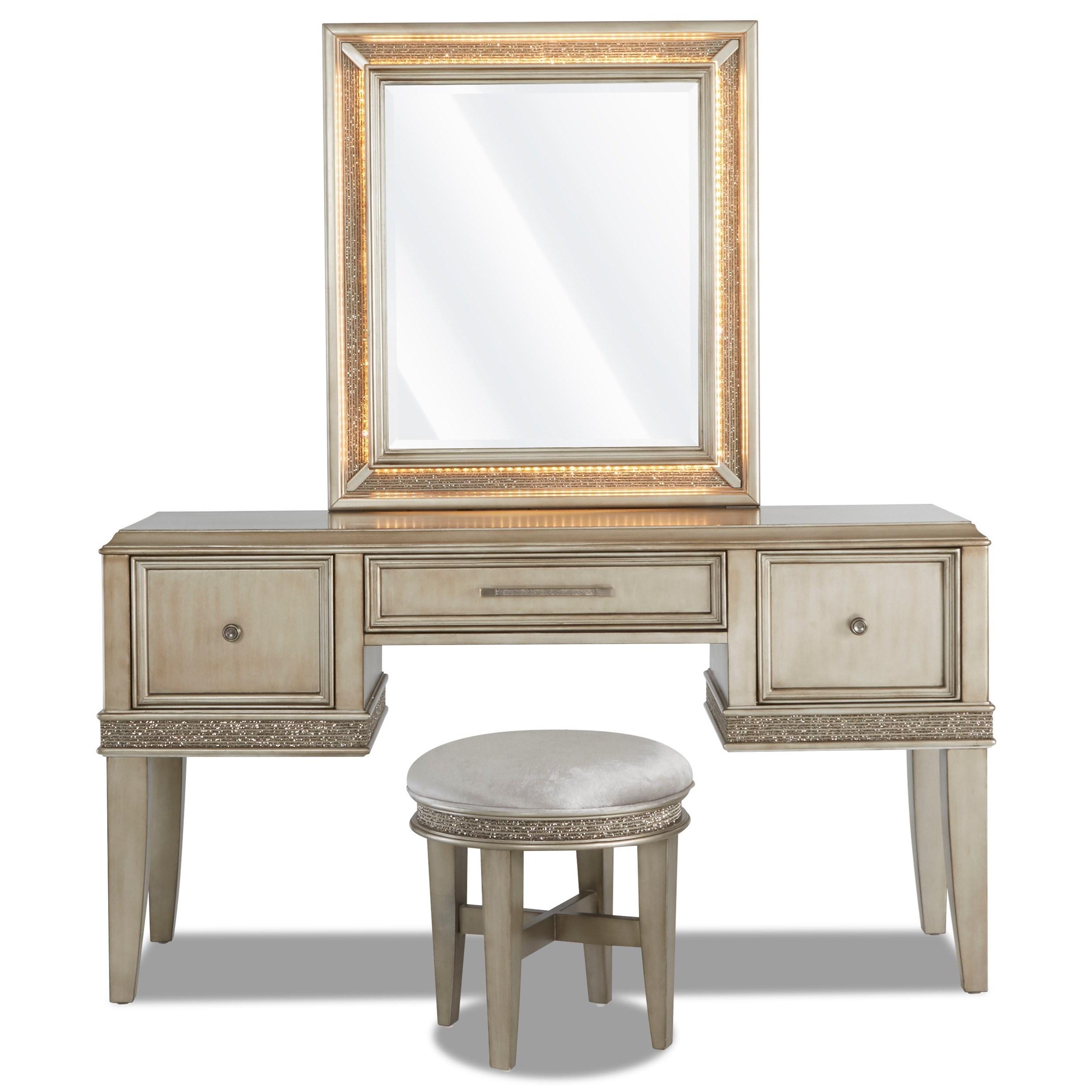 Sophia Vanity, Stool, and Mirror by Klaussner International at Beck's Furniture