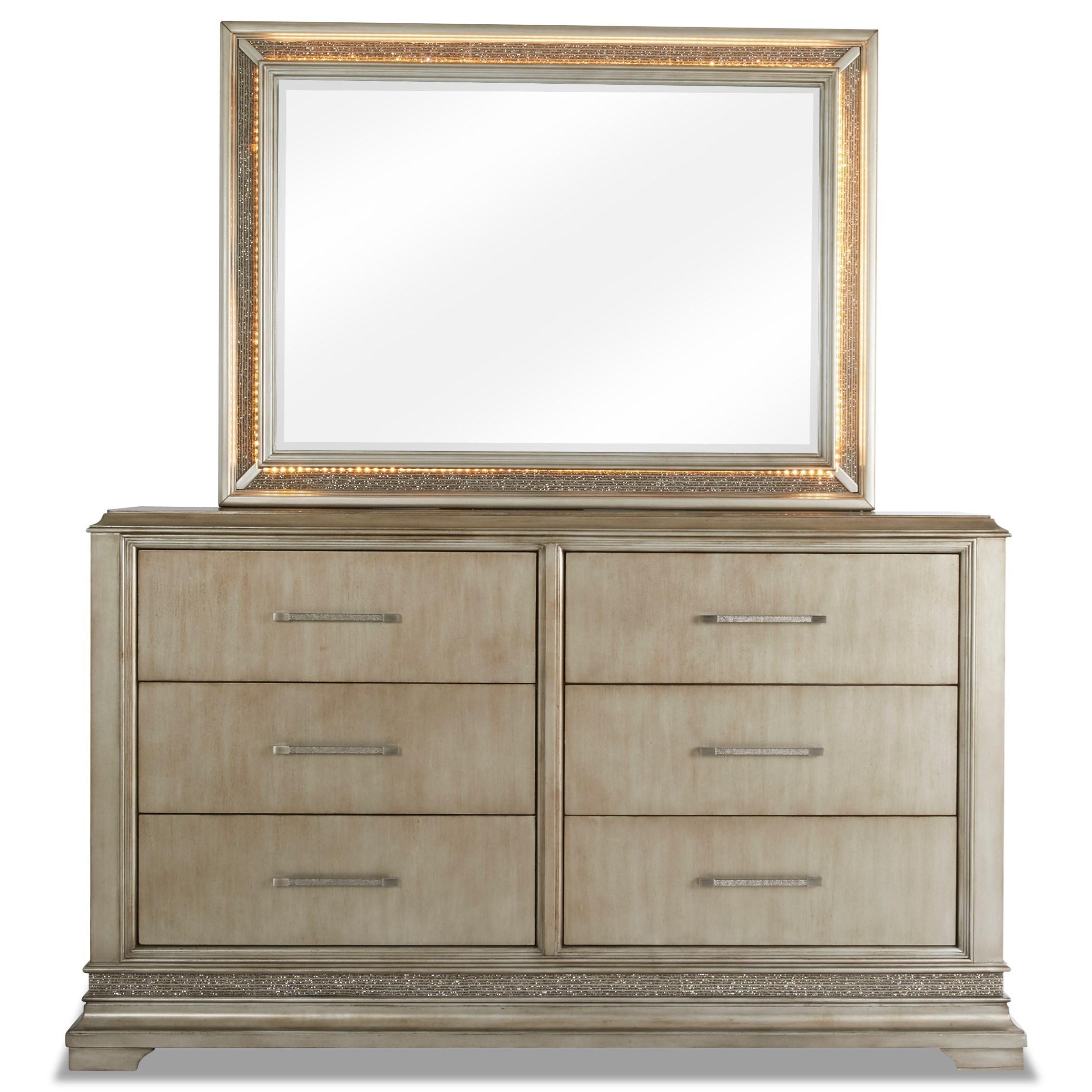 Sophia Glam Dresser And Light Up Mirror Set Ruby Gordon Home Dresser Mirror Sets