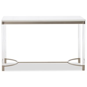Studio White Transitional Desk with Acrylic Legs and Wood Top  by Klaussner International