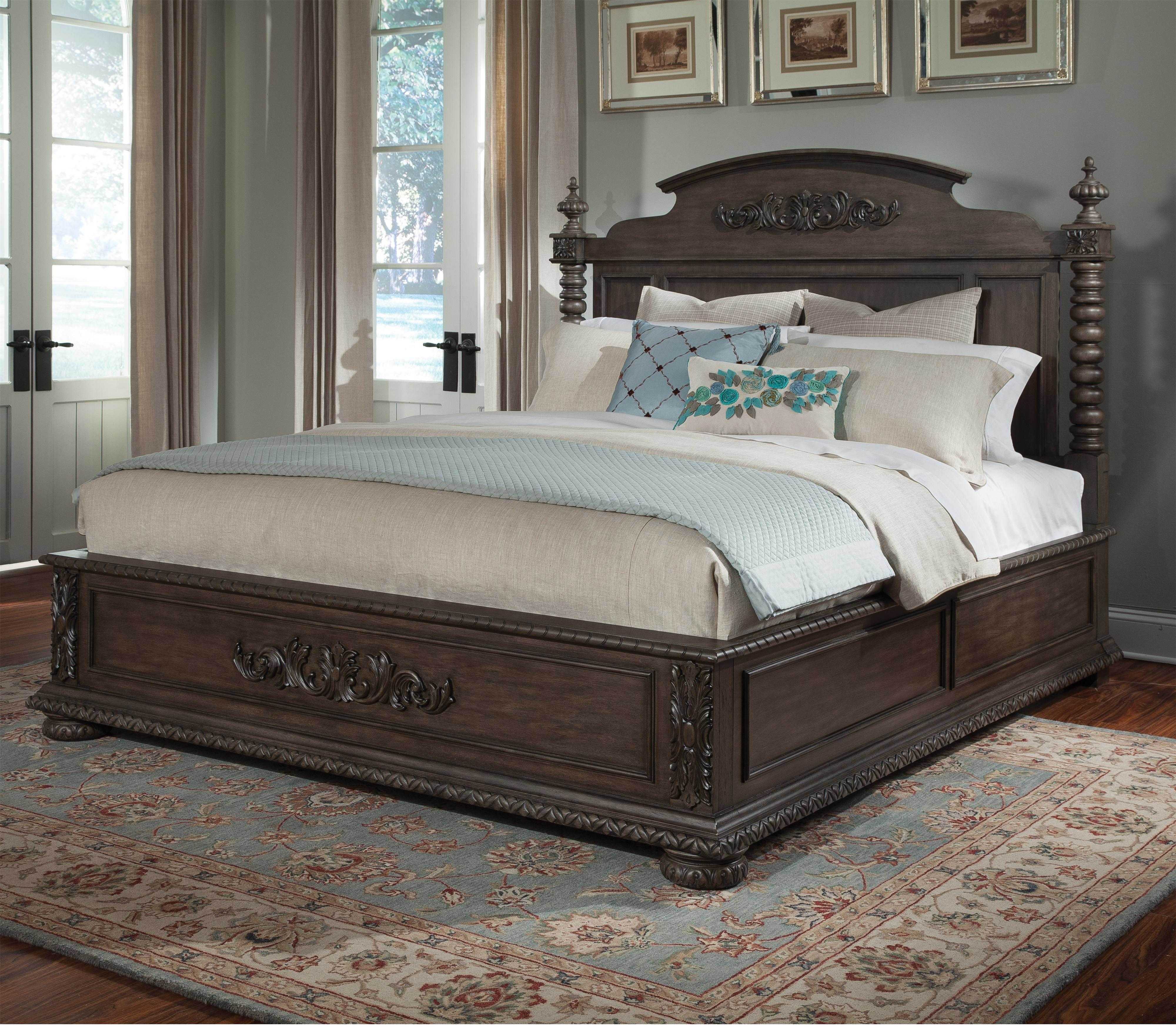 Klaussner International Versailles Queen Bed with Bun Feet and ...
