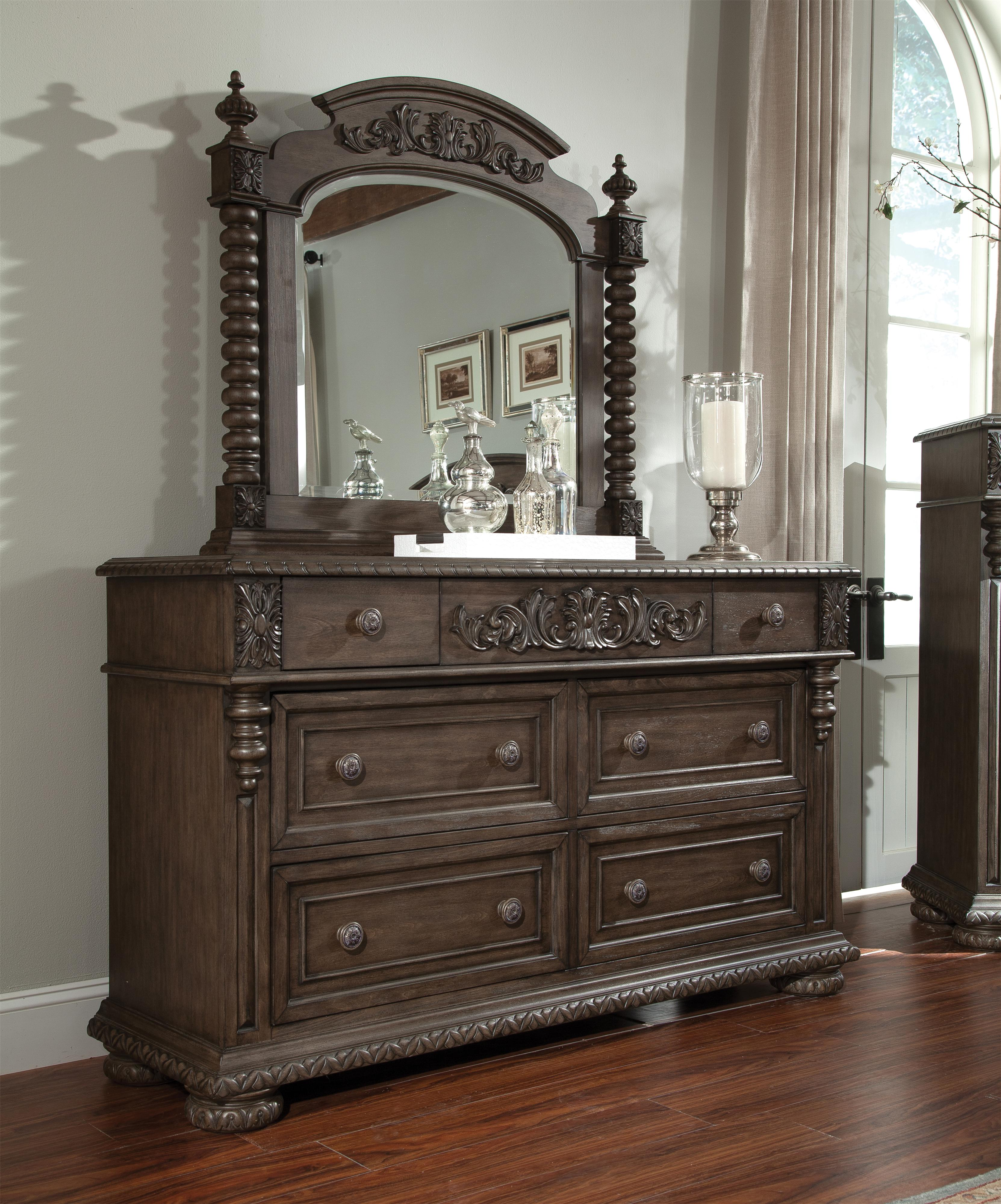 Belfort Basics Virginia Manor Dresser and Mirror Set - Item Number: 980-650 DRES+60 MIRR