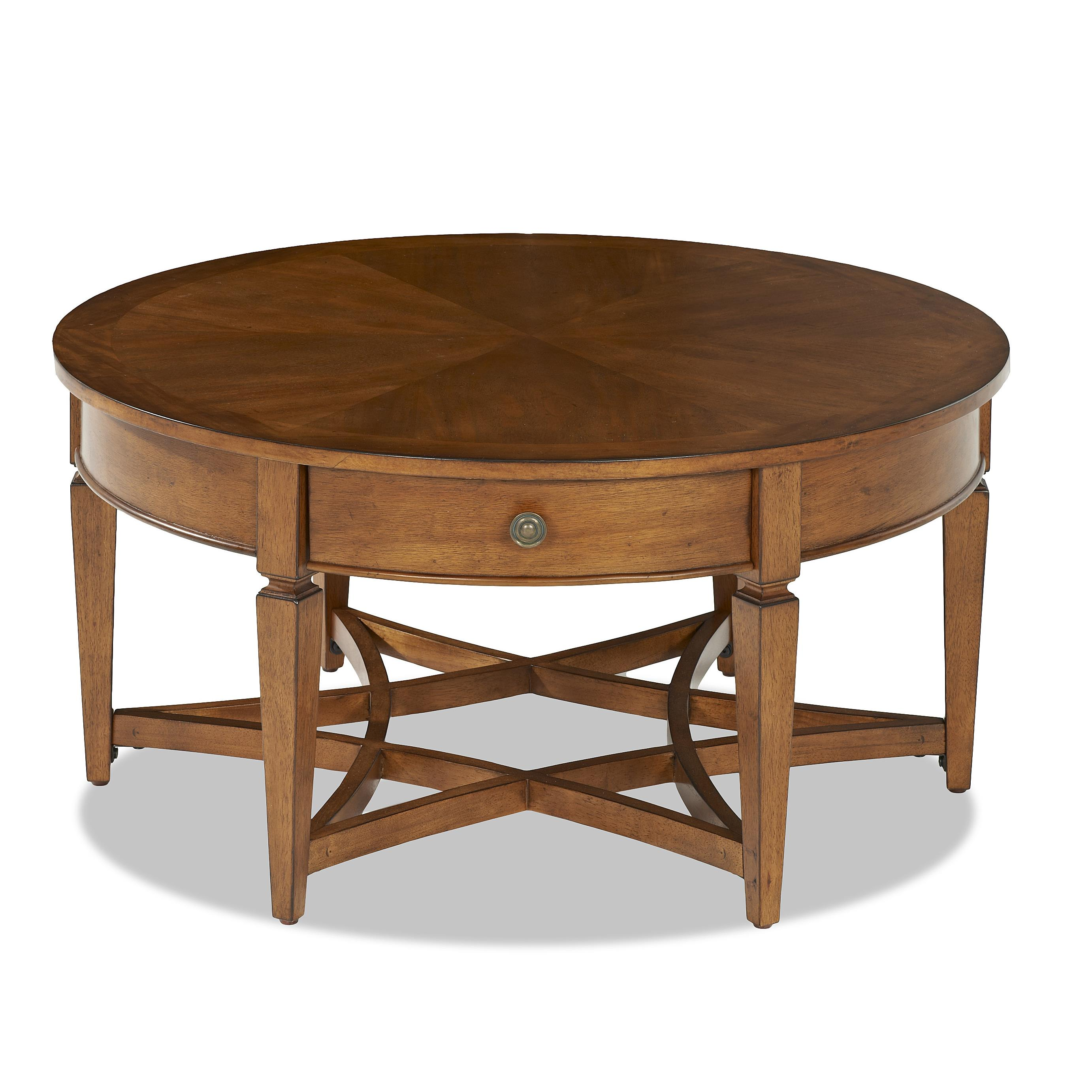 Lpd Furniture Accent White Coffee Table: Worthington Round Cocktail Table With 1 Drawer