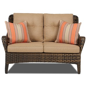 Bayley Outdoor Loveseat with Reversible Cushions by Klaussner Outdoor