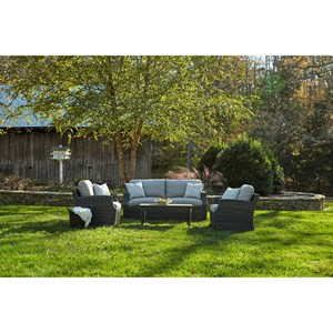 Outdoor Chat Set w/ Reversible Cushions