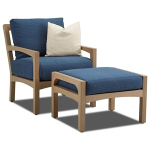 Klaussner Outdoor Delray Outdoor Chair and Ottoman