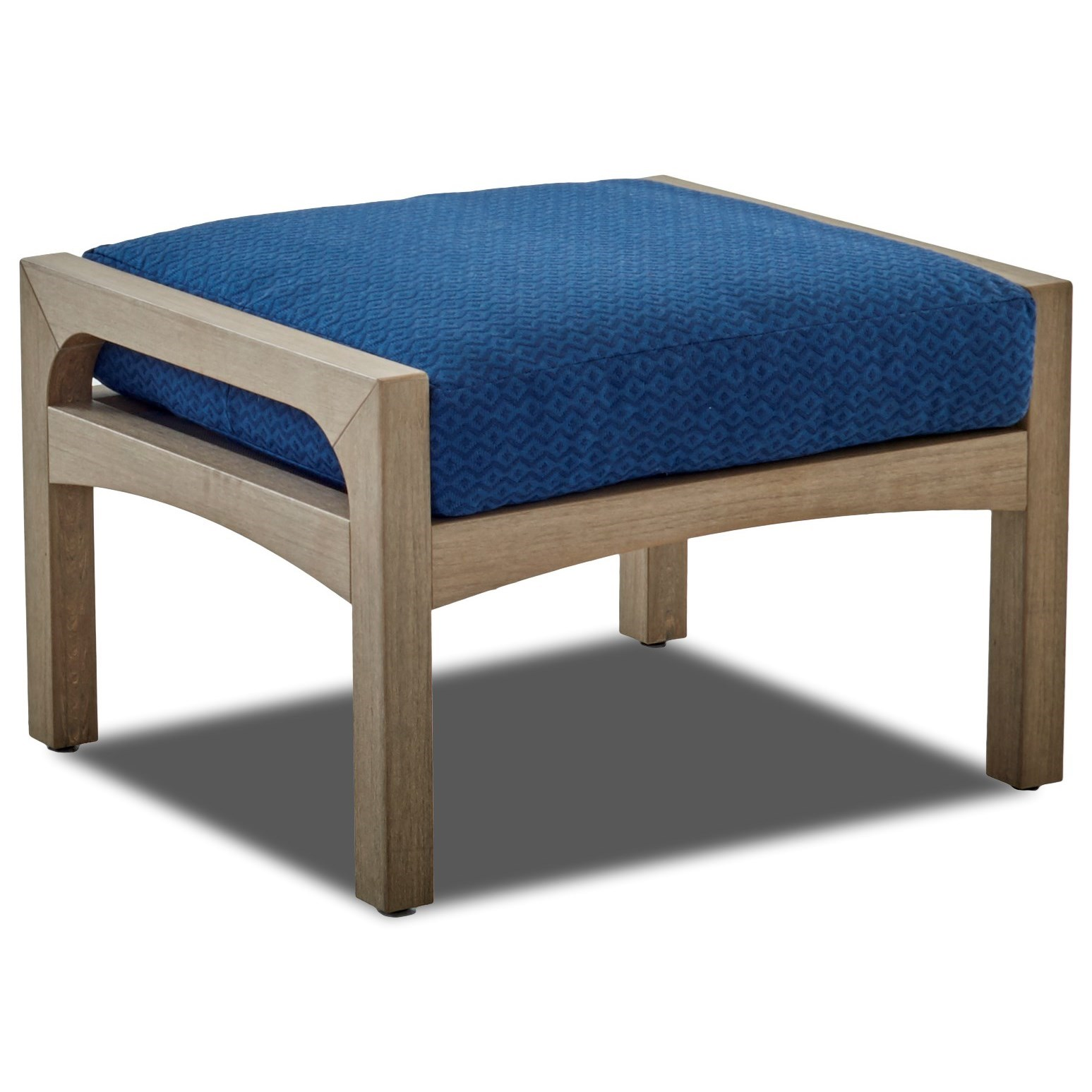 Delray Outdoor Ottoman with Drainable Cushion by Klaussner Outdoor at Pilgrim Furniture City