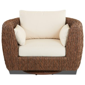 Lantana Woven Wicker Swivel Glide Chair with Reversible Cushions by Klaussner Outdoor