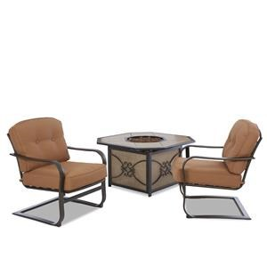 Metropia Outdoor Lowell Bay Set of 2 Cushioned C Spring Chairs and Fire
