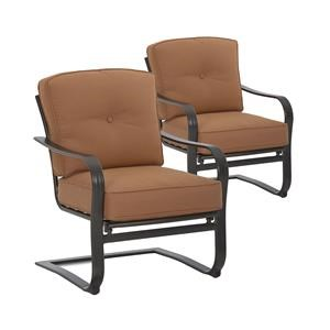 Metropia Outdoor Lowell Bay Set of 2 Cushioned C Spring Chairs