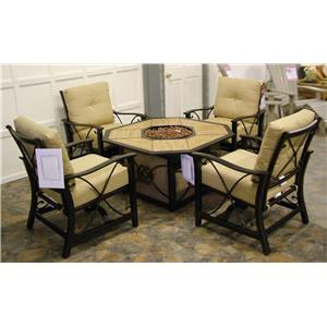 Klaussner Outdoor Embers 5PC Outdoor Firepit & Chairs Set