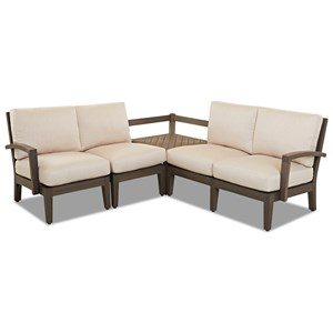 3 Pc Outdoor Sectional Sofa w/ Corner Table