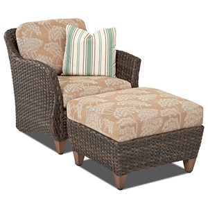 Klaussner Outdoor Sycamore Outdoor Chair and Ottoman