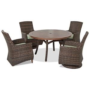 5 Pc Outdoor Dining Set w/ Drainable Cushio