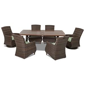 6 Pc Outdoor Dining Set w/ Reversible Cushio