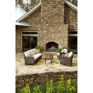 4 Pc Outdoor Chat Set w/ Reversible Cushions
