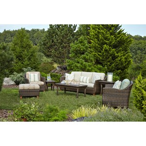 7 Pc Outdoor Chat Set w/ Drainable Cushions