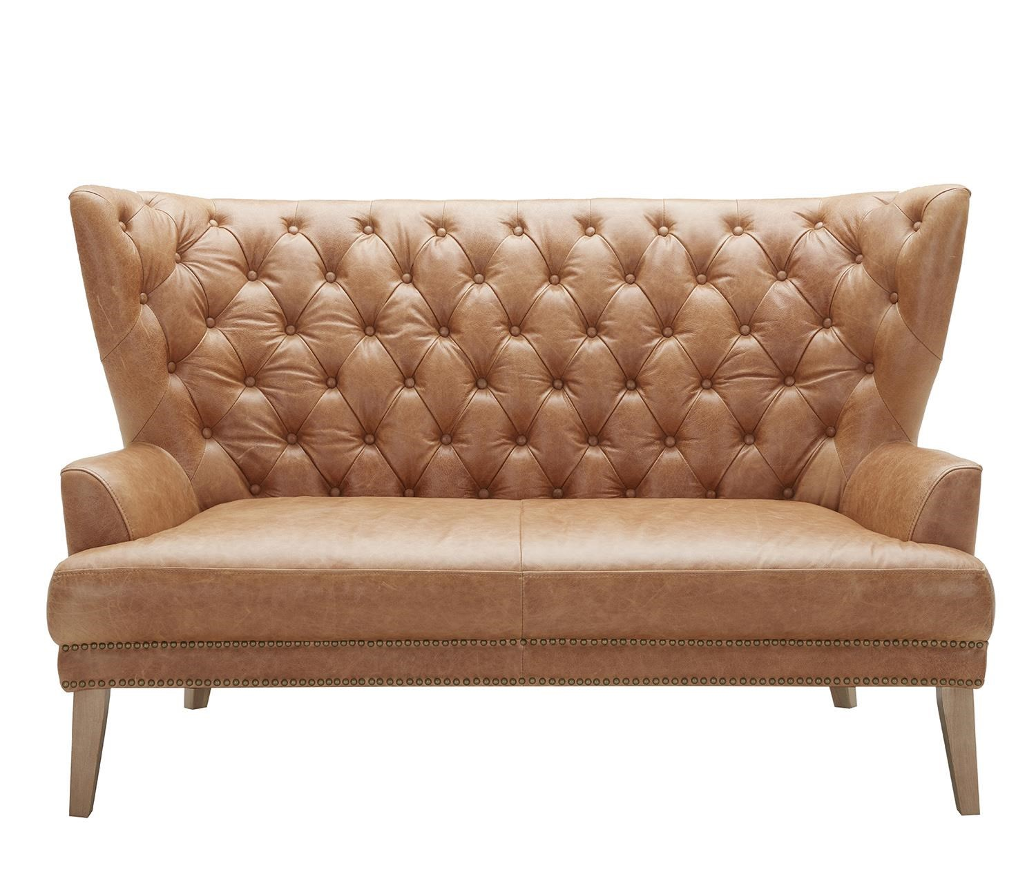 Tufted Leather Settee