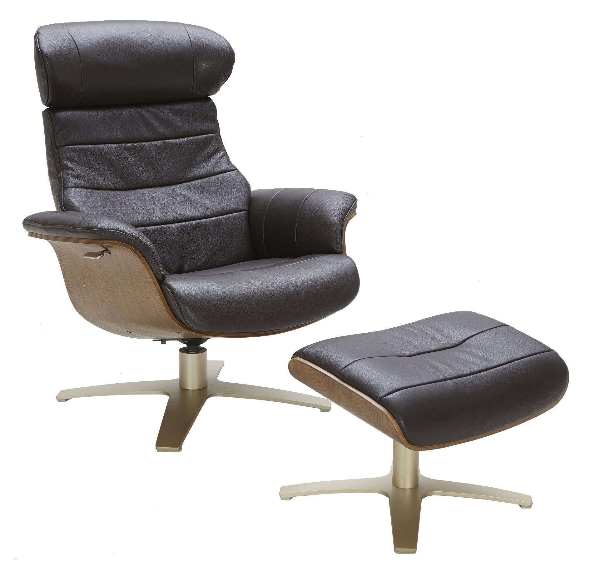 Urban Evolution Karma Leather Lean-Back Swivel Chair and Ottoman - Item Number: A928-1-2a-S+A928