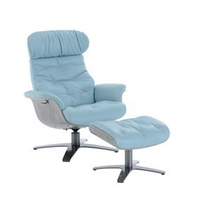 Kuka Home A938 Reclining Chair and Ottoman - Gray Wood