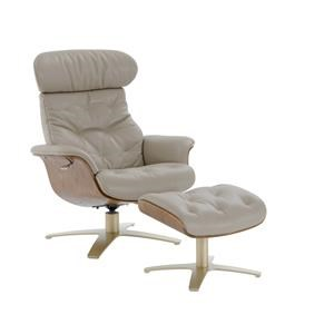 Kuka Home A938 Reclining Chair and Ottoman - Brown Wood