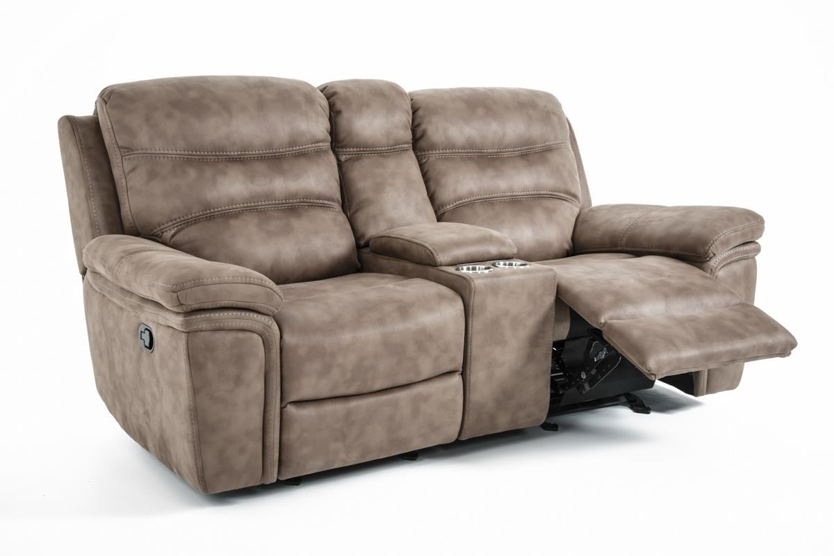 Kuka Home KM008 Power Glide Reclining Console Sofa - Item Number: KM008-22AGCX BROWN