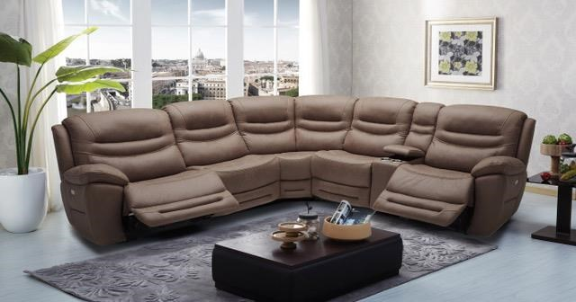 KM083 6 pc Reclining Sectional Sofa by Kuka Home at Beck's Furniture