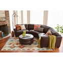 La-Z-Boy Allerton Three Piece Curved Leather Sectional Sofa