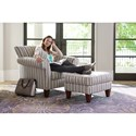 La-Z-Boy Aria Transitional Ottoman with Tapered Wood Legs