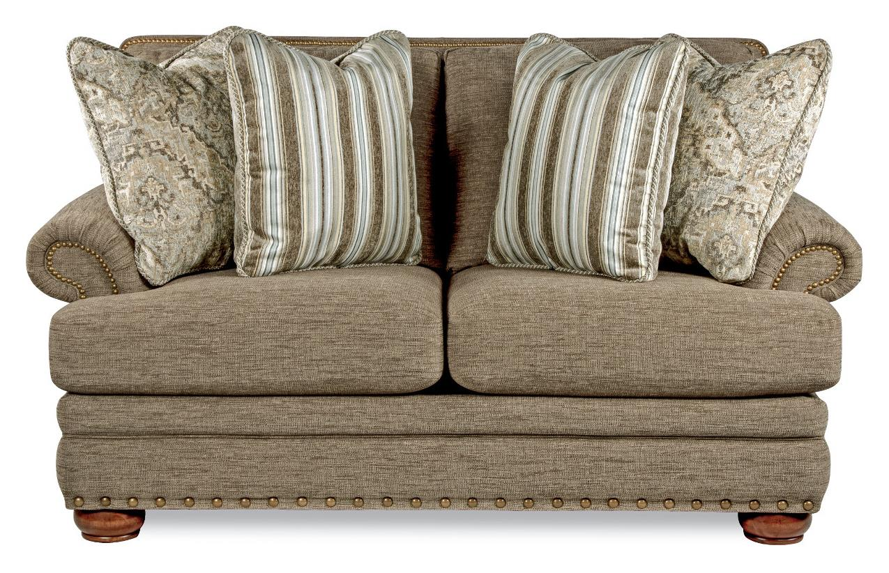 Brennan Traditional Loveseat With Comfort Core Cushions And Two Sizes Of Nailhead By La Z Boy