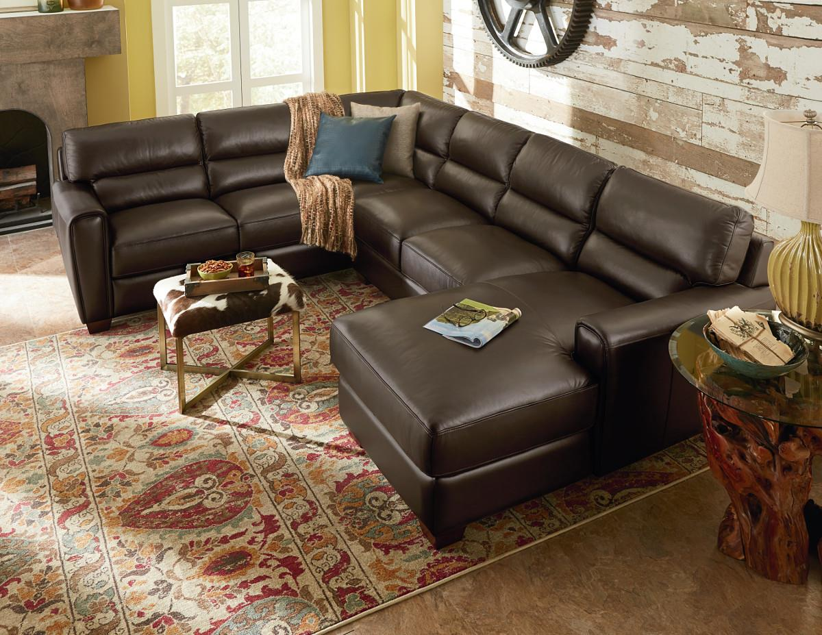 La z boy brody three piece contemporary leather sectional for 3 piece sectional sofa with chaise