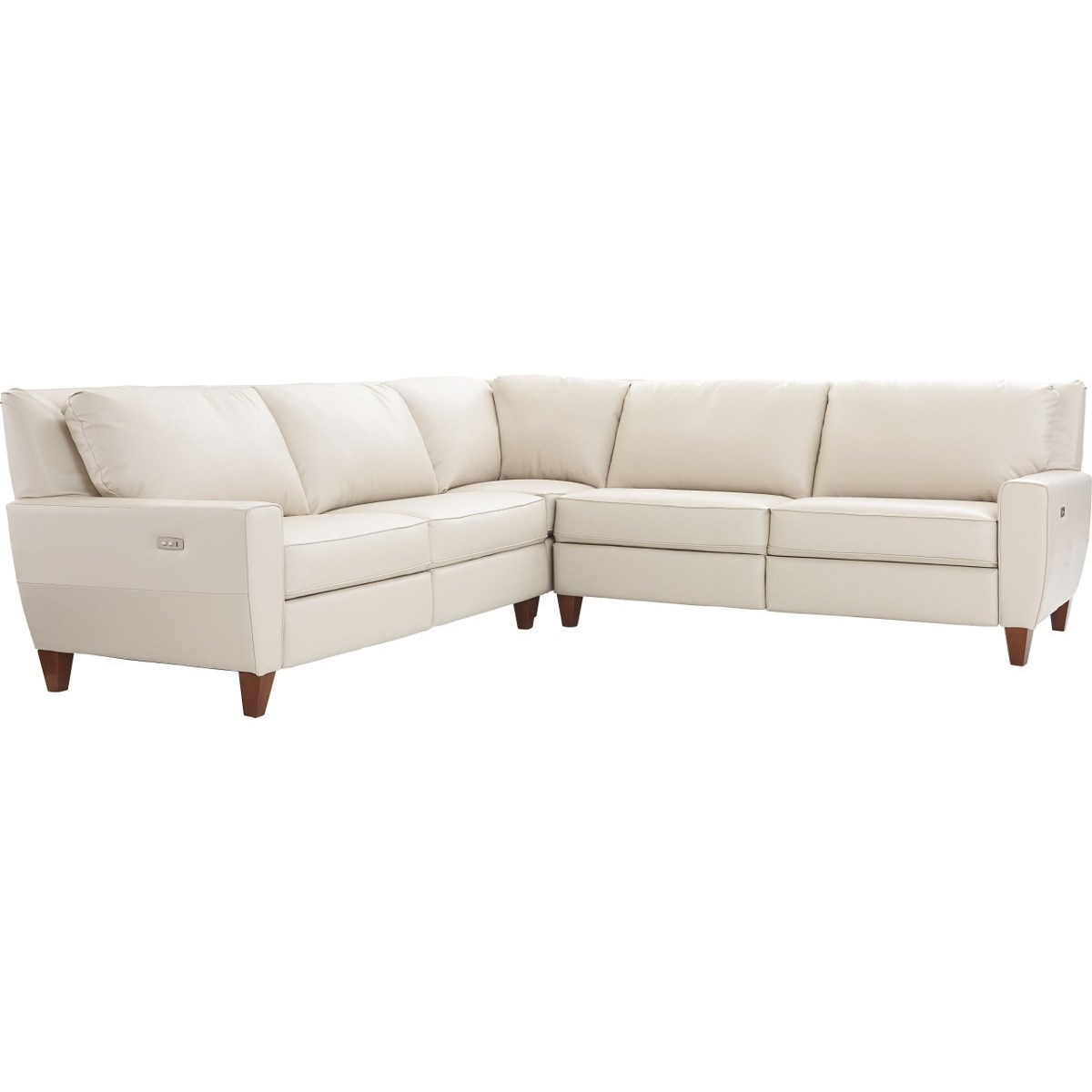 La Z Boy Edie Three Piece Power Reclining Sectional Sofa With Two Reclining Chairs And Two Usb Charging Ports Reid S Furniture Reclining Sectional Sofas