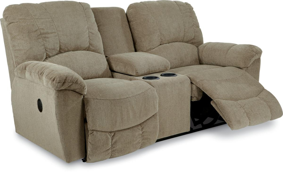 Hayes casual power la z time full reclining loveseat with middle console and channel stitched Reclining loveseat with center console
